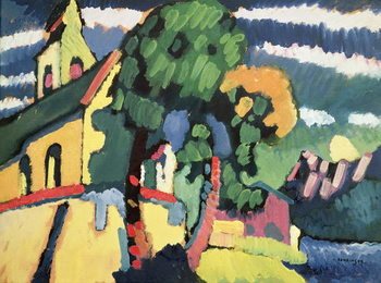 Reprodução do quadro Bavarian Landscape with a Church