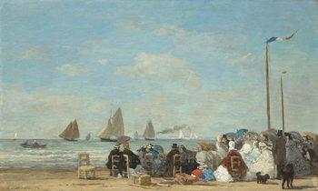 Reprodução do quadro  Beach Scene at Trouville, 1863