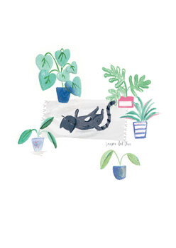Ilustração Black cat on grey scandi rug