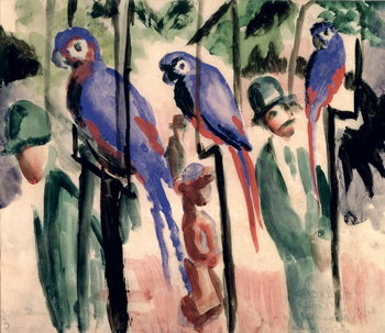 Reprodução do quadro Blue Parrots