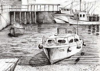 Reprodução do quadro  Boats at Islay Scotland, 2005,