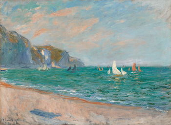 Reprodução do quadro  Boats Below the Pourville Cliffs; Bateaux Devant les Falaises de Pourville, 1882