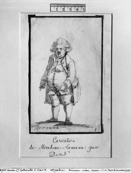 Reprodução do quadro  Caricature of Andre Boniface Louis of Riqueti, Viscount of Mirabeau, nicknamed Mirabeau-Tonneau