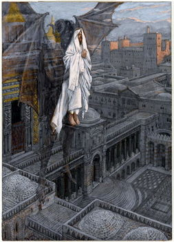Reprodução do quadro  Christ Borne Up unto a Pinnacle of the Temple, illustration for 'The Life of Christ', c.1884-96