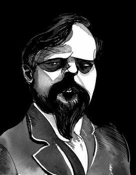 Reprodução do quadro Claude Debussy, French composer , grey tone watercolour caricature, 1996 by Neale Osborne