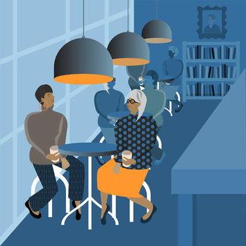 Reprodução do quadro Coffee Shop Meeting