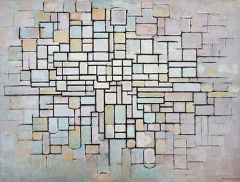 Reprodução do quadro  Composition No 11 in grey, pink and blue, 1913, by Piet Mondrian , oil on canvas. Netherlands, 20th century.