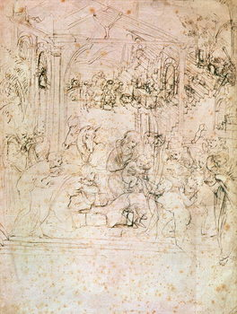 Reprodução do quadro  Composition sketch for The Adoration of the Magi, 1481