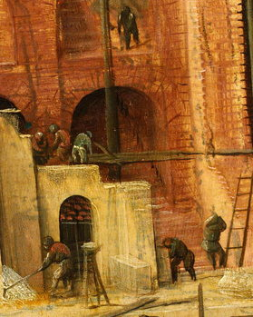 Reprodução do quadro Construction detail from Tower of Babel, 1563