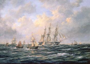 Reprodução do quadro  Convoy of East Indiamen amid Fishing Boats