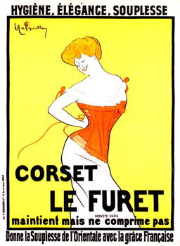 Reprodução do quadro Corset print ad by Leonetto Cappiello around 1901