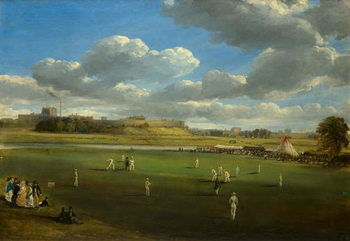 Reprodução do quadro  Cricket Match at Edenside, Carlisle, c.1844