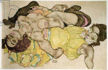 Reprodução do quadro  Curved women. Drawing by Egon Schiele , 1915 Pencil and tempera on paper, Dim: 32,8x49,7cm. Vienna, Graphische Sammlung Albertina