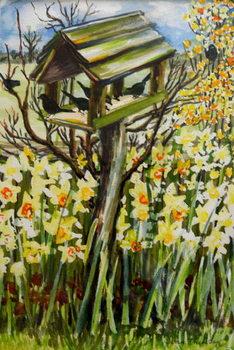 Reprodução do quadro  Daffodils, and Birds in the Birdhouse, 2000,