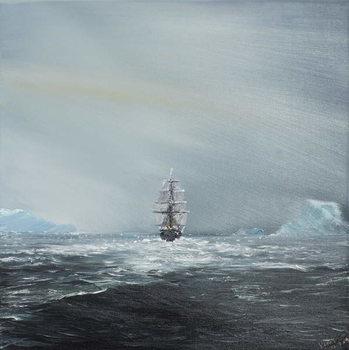 Reprodução do quadro  Discovery en route to Antarctica, 2014,