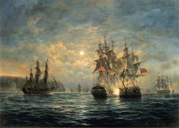 Reprodução do quadro  Engagement Between the Bonhomme Richard and the Serapis off Flamborough Head, 1779