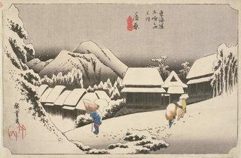 Reprodução do quadro  Evening Snow at Kambara, No.16 from 'The 53 Stations of the Tokaido', pub. by Hoeido, 1833,