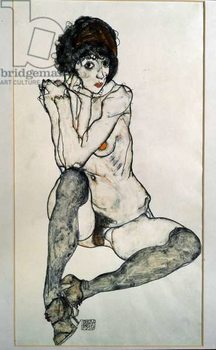 Reprodução do quadro Female naked sitting. Drawing by Egon Schiele , 1914. Black chalk and watercolor on paper. Dim: 48,3x32cm. Vienna, Graphische Sammlung Albertina