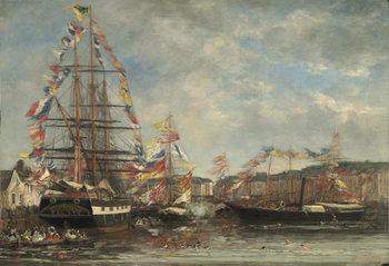 Reprodução do quadro  Festival in the Harbour of Honfleur, 1858