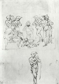 Reprodução do quadro  Figural Studies for the Adoration of the Magi, c.1481