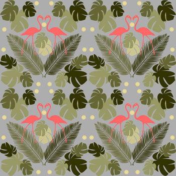 Reprodução do quadro Flamingo and Palms