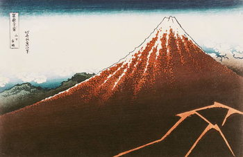 Reprodução do quadro  Fuji above the Lightning', from the series '36 Views of Mt. Fuji' ('Fugaku sanjurokkei') (coloured woodblock print)
