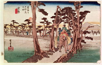 Reprodução do quadro  Fuji from Yoshiwara from 53 Stations of the Tokaido, c.1833