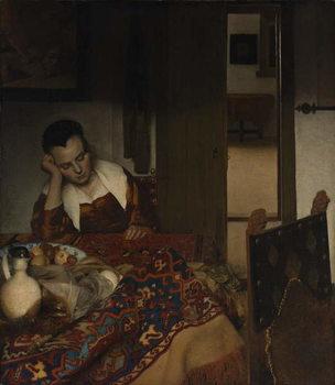 Reprodução do quadro  Girl asleep at a table, 1656-57