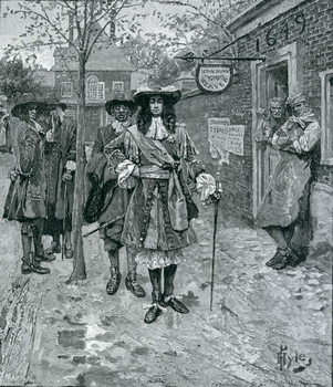 Reprodução do quadro  Governor Andros and the Boston People, engraved by A. Whitney, from Harper's Magazine, 1883