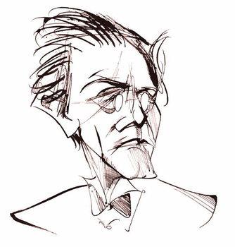 Reprodução do quadro Gustav Mahler, Austrian composer , sepia line caricature, 2006 by Neale Osborne