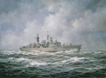 """Reprodução do quadro  H.M.S. """"Exeter"""" at Sea, 1990"""