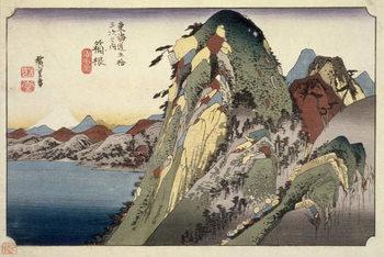 Reprodução do quadro  Hakone: Lake Scene, from the series '53 Stations of the Tokaido' ('Tokaido gojusan tsugi no uchi'), pub. by Hoeido, 1833,