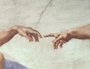 Reprodução do quadro Hands of God and Adam, detail from The Creation of Adam, from the Sistine Ceiling, 1511 (fresco)