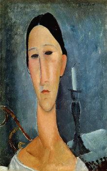 Reprodução do quadro Hanka Zborowska with a Candlestick, 1919