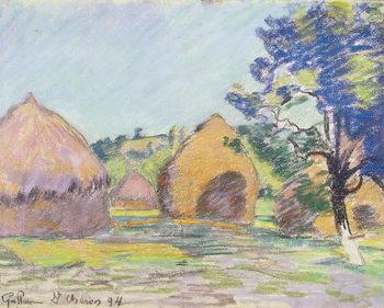 Reprodução do quadro Haystacks at Saint-Cheron
