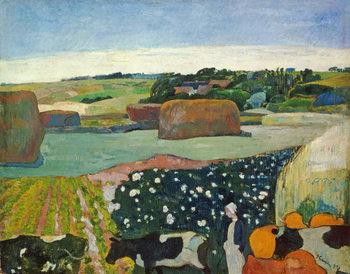 Reprodução do quadro  Haystacks in Brittany, 1890