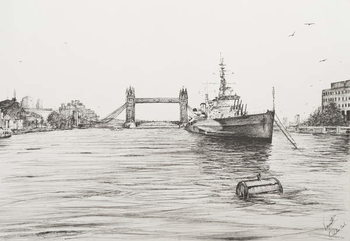 Reprodução do quadro HMS Belfast on the river Thames London, 2006,