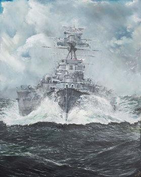 Reprodução do quadro  HMS Hood heads for Bismarck 23rd May 1941, 2014,