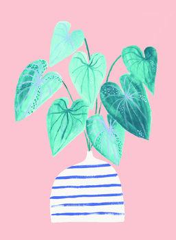 Ilustração Houseplant in stripey vase
