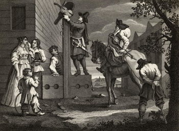 Reprodução do quadro  Hudibras leading Crowdero in Triumph, from 'Hudibras' by Samuel Butler (1612-80) engraved by J. Romney, from 'The Works of William Hogarth', published 1833