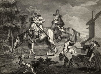 Reprodução do quadro  Hudibras Sallies Forth, from 'Hudibras' by Samuel Butler (1612-80) engraved by C. Armstrong, from 'The Works of William Hogarth', published 1833