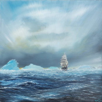 Reprodução do quadro  Ice Dominion, Terra Nova passes Ice Burgs, 2014,