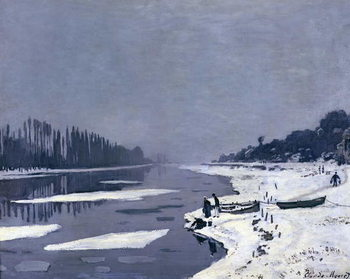 Reprodução do quadro  Ice floes on the Seine at Bougival, c.1867-68