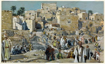 Reprodução do quadro  Jesus Passing through the Villages on His Way to Jerusalem, illustration for 'The Life of Christ', c.1884-96