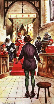 Reprodução do quadro  Joan of Arc being tried by a church court