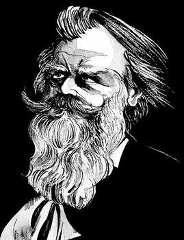 Reprodução do quadro Johannes Brahms, German composer , grey tone watercolour caricature, 1996 by Neale Osborne