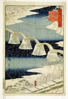 Reprodução do quadro  Kintai bridge in the snow, from the series 'Shokoku Meisho Hyakkei',