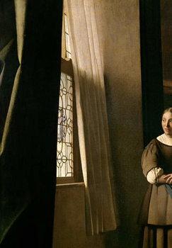 Reprodução do quadro  Lady writing a letter with her Maid, c.1670 (oil on canvas)