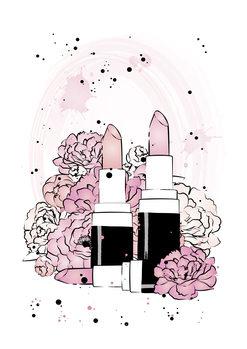 Ilustração Lipstick Peonies