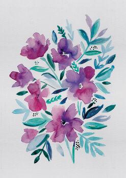 Ilustração Loose pink floral watercolour